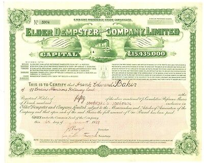 Elder Dempster and Company, Limited. Stock Certificate