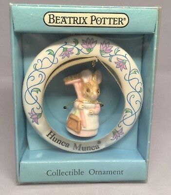 Vintage Beatrix Potter Ornament Schmid Hunca Munca New Box Mouse Ceramic Painted