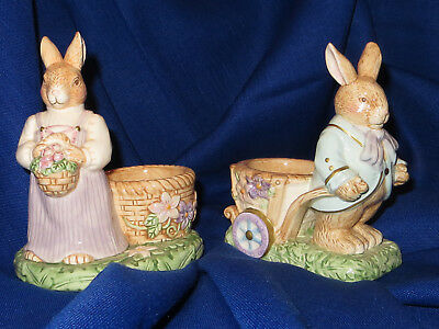 """Avon set of two bunny candleholders """"springtime collection"""""""