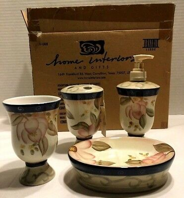 "Home Interiors Lotus Blossom Pattern  Bathroom Decor ""NEW IN THE BOX"""