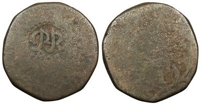 INDIA Miguel ND (1831) Tanga (60 Reis) Countermarked Near VF