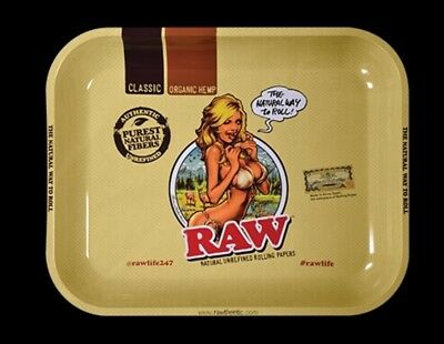 "RAW GIRL ""medium"" NEW Style METAL Rolling Tray 11"" x7"" Limited edition"