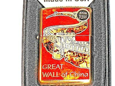 New Genuine ZIPPO USA LIGHTER Great Wall of China Windproof Flame HP Brass Case