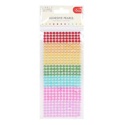 Adhesive Pearls 6mm Rainbow 372 x Assorted Colour Stickers Rhinestones