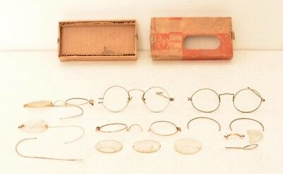 Antique Eyeglasses Yellow Fellow Frames Silver Gold Round FOR PARTS 4 Glasses AO