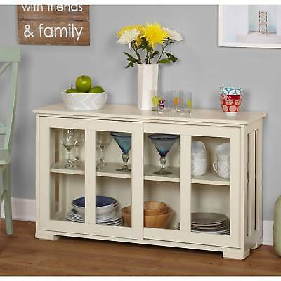 Country White Kitchen Sliding Glass Door Stackable Wood Storage