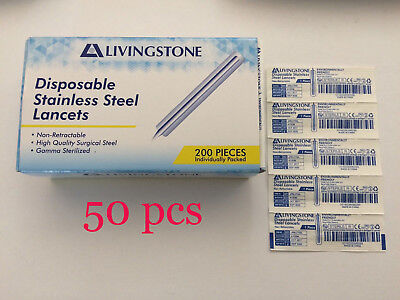 Livingstone STAINLESS STEEL BLOOD LANCETS FIRST AID KIT HEALTH MEDICAL (50 PCS)