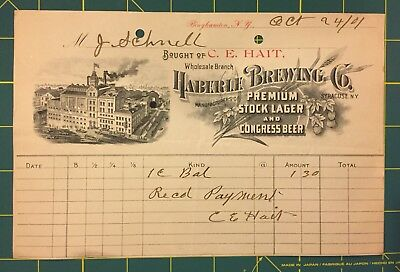 FINAL LISTING! 1901 PrePro 'Haberle Brewing Co.' Beer Letterhead, Syracuse NY