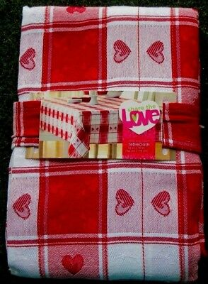 Valentine S Day Tablecloth Plaid Gingham Hearts Red White 3 Styles