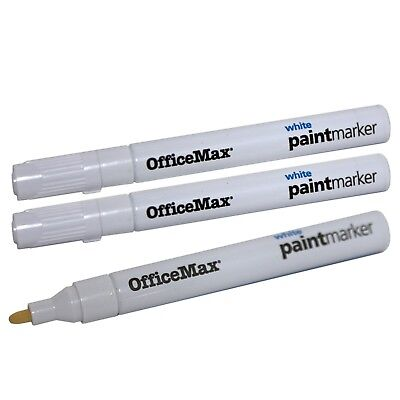 3 OfficeMax Permanent WHITE Paint Markers for Metal, Plastic