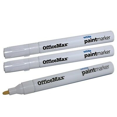 3x OfficeMax Permanent WHITE Paint Markers for Metal, Plastic or Hard Surfaces