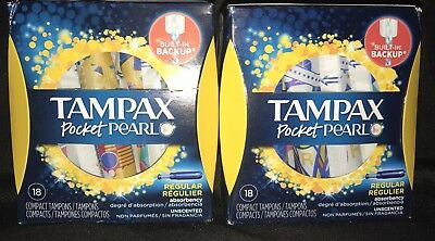 (2) Tampax Pocket Pearl Compact Tampons Unscented Regular 18 ct. = 36 Total
