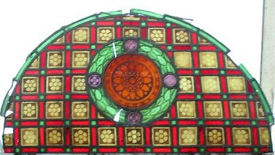 Huge Victorian Painted Arched Stained Glass Window