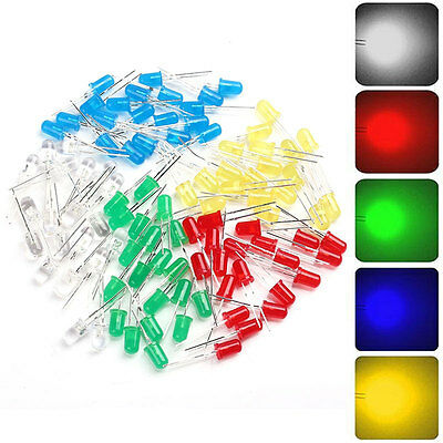 100pcs 5mm Red Yellow Green Blue White Light LED Diode kits 20pcs Each Co Gift