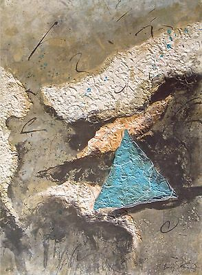 "Baruj Salinas etching/collage ""Delta II""-signed-35 museum shows-100+ solo shows!"