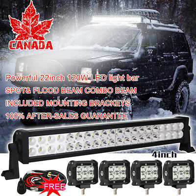 "20 inch 120w Led Work Light Bar Spot Flood +4"" Cree Pods Off-roading SUV Pickup"