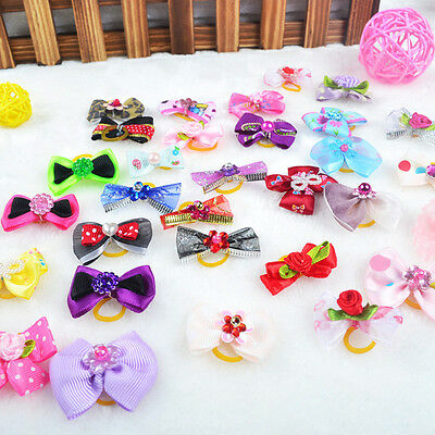 20pcs Assorted Pet Cat Dog Hair Bows with Rubber Bands Pet Grooming Acces Gift