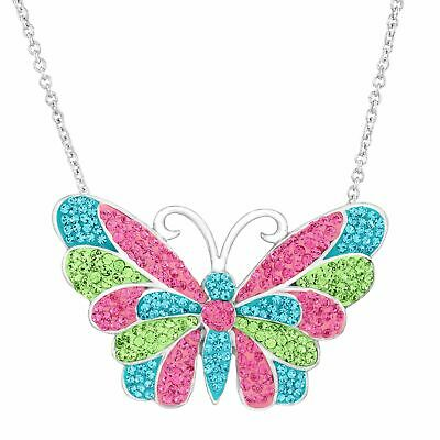 Crystaluxe Butterfly Pendant with Multi Swarovski Crystals in Sterling Silver