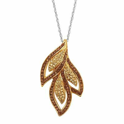 Crystaluxe Triple Leaf Pendant with Swarovski Crystals in 18K Gold-Plated Silver