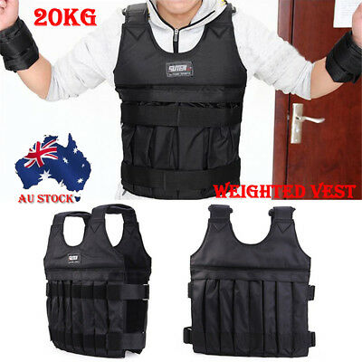 20KG Weighted Vest Adjustable Weight Vests MMA Gym Training Exercise Fitness