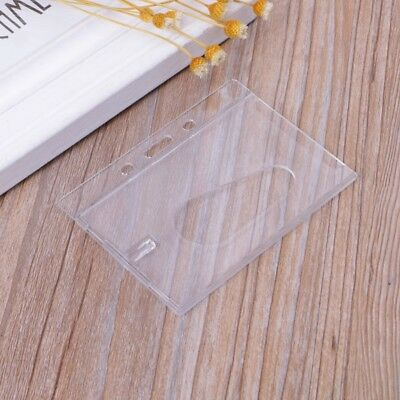 Bank Card Badge Holder Hard Clear Plastic Protector ID Cover Horizontal