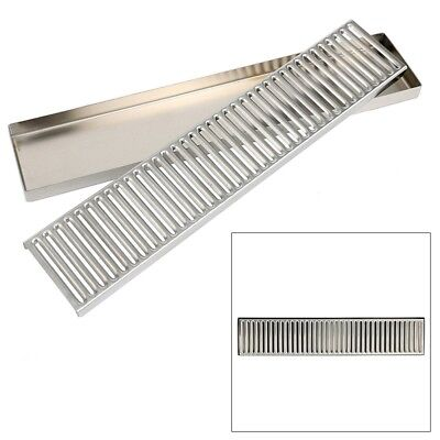 "19"" Rectangular Stainless Steel Beer Drip Tray Surface Mount No Drain"