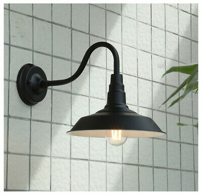 Vintage Black/Brass Metal Shade Curved Arm Waterproof Outdoor Wall Lights Patio