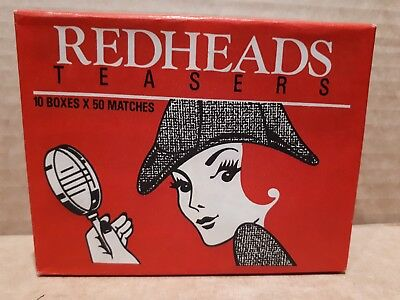 "Vintage REDHEADS MATCHES ""TEASERS"" PACK OF 10 BOXES UNOPENED Made in Australia"