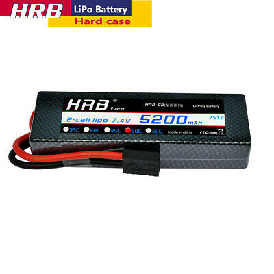 HRB 2S 5200mAh 7.4V LiPo Battery 50C Traxxas Hard for RC Car Truck Buggy