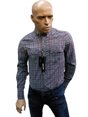 Men's Shirts Slim Antony Morato Ms3215 Art. Grey - Fuchsia Christmas Gift Idea