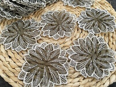 10pcs Black Organza With White Embroidery Lace Flower Appliques Trim DIY 9*9cm