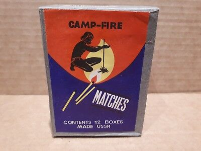 "Vintage ""CAMP FIRE"" MATCHES PACK OF 12 BOXES UNOPENED Made in USSR"