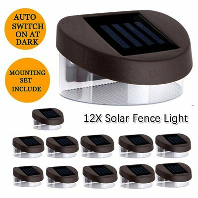 12X Solar Fence Light Solar Gutter Light Outdoor Garden LED Yard Pathway Lamp H
