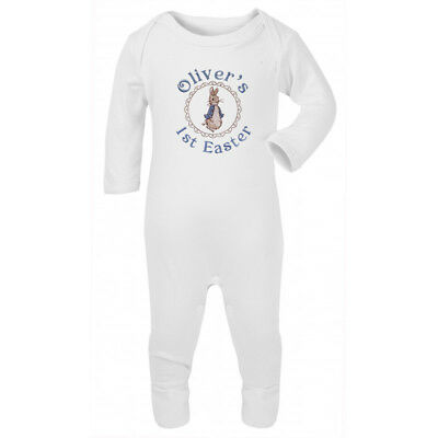 1st birthday or Easter Personalised Peter rabbit baby romper suit vest babygrow