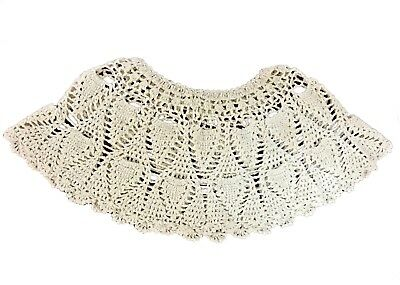 NEW Hand Crocheted Vintage Lace Beige Collar Top Shawl Poncho Capelet