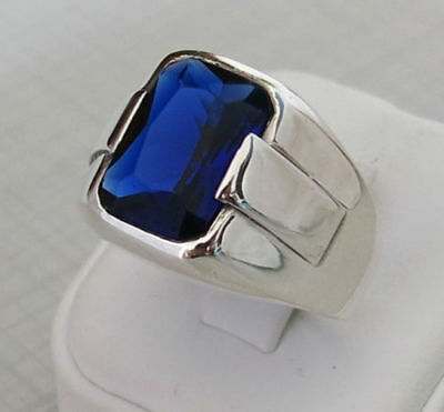 Handcraft 925 Sterling Silver Jewelry Blue Sapphire Gemstone Men's  Ring