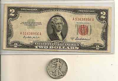 1953 or 1963 $2 US red seal & Walking liberty 90 % Silver half dollar, Lot of 2