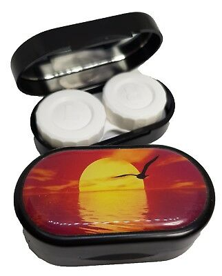 Classic Style Mirror Case Contact Lens Soaking Storage Case UK MADE - Sun Set