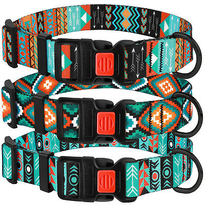 Personalized Dog Collar Adjustable Nylon Collars for Dogs Puppy Tribal Pattern