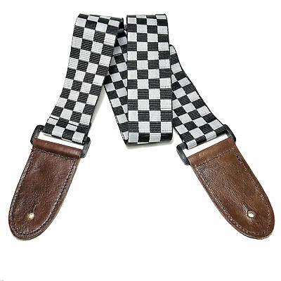 Quality woven guitar, bass, ukulele strap. Chequered - Real Leather ends