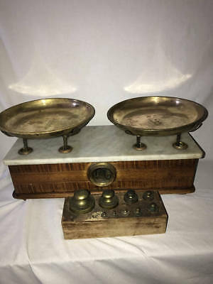 Fine Antique Oak & Marble Top Apothecary Balance Scale