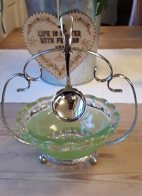 Celtic Vintage Green Glass Sugar Bowl with Plated Cradle and Spoon - VGC