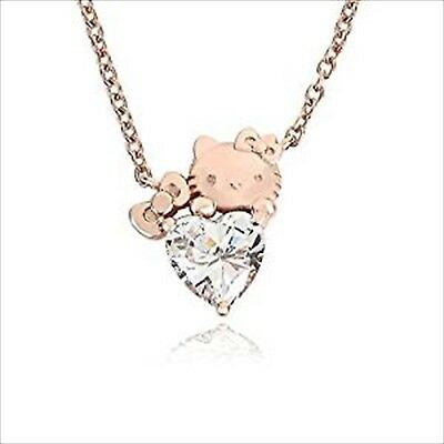 b0b197fd2 Hello Kitty Heart & Ribbon Necklace Pendant Pink Gold Made in Japan Sanrio  ...