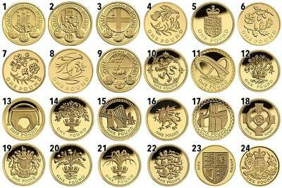 Various Old Round 1 Pound Coins From Uk £1 Coin Hunt....