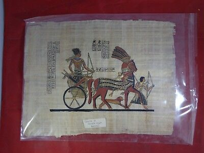 Antique Hand-Painted Authentic Egyptian Papyrus Paper - Chariot of Ramses