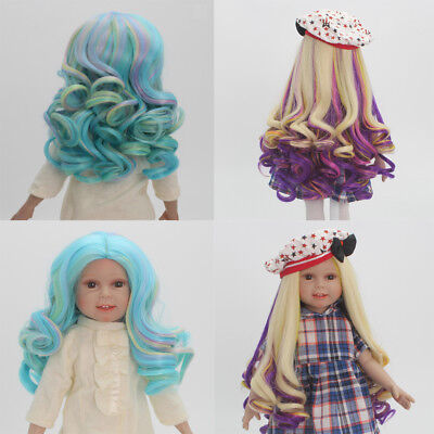 "2pcs Gradient Curly Hair Wig for 18"" American Girl Dolls DIY Making Repair"