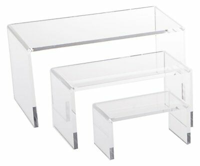 Set of 3 Small Acrylic Display Stand Makeup Jewelry Clear Riser Risers Stands