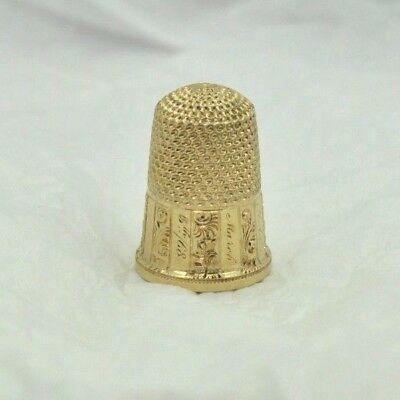 Vintage 14K Yellow Gold Sewing Thimble SZ-1.5
