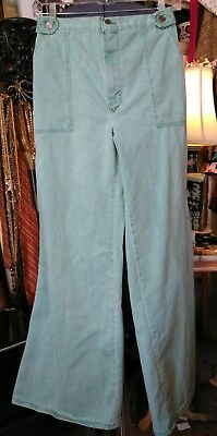Vintage 70s High Waisted Wide Leg Green Jeans