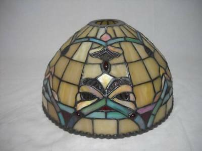 """Vintage 10"""" Leaded Stained Slag Glass Shade with Jewels and Beading"""